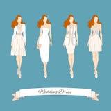 Wedding draw dresses set. Royalty Free Stock Image