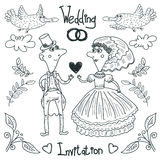 Wedding drawing bride and groom, vector illustration. Linear drawing on a white background, wedding rings, birds, humorous pair Stock Photography