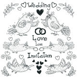 Wedding drawing, funny birds, vector. Wedding drawing, funny birds are getting married, vector. Linear drawing on a white background, wedding rings and doves Stock Photos