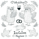 Wedding drawing, funny lovely birds, vector. Wedding drawing, funny birds are getting married, vector. Linear drawing on a white background, wedding rings and Stock Photos