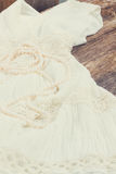 Wedding drees. Vintage wedding drees with pearls strand, retro toned Royalty Free Stock Images