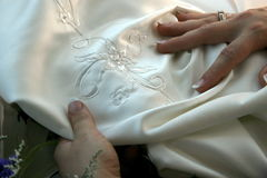 Beautiful embroidered Wedding dress. Embroidered wedding dress material Royalty Free Stock Image