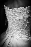 Wedding dress. White wedding dress. Rear view Stock Photo