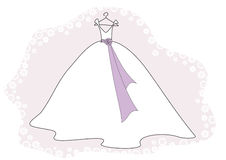 Wedding dress. A pretty wedding dress on a hanger with a decorative flowers border Royalty Free Stock Images
