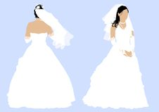 Wedding dress. Vector drawing a girl in a wedding dress. Back and front Royalty Free Stock Photography