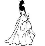 Wedding dress. Black and white hand draw Stock Images