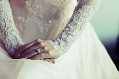 Wedding dress. Diamond Ring with embroidered lace wedding dress nicely