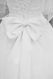Wedding Dress. Black and white photography wedding dress shot from behind with a bow at the waist Stock Images