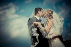With the wedding dress` Stock Photography