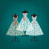 Wedding dress. Three beautiful white lace dresses on mannequins Royalty Free Stock Images