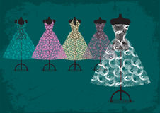 Wedding dress. And four bridesmaids' dresses Royalty Free Stock Photography