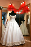 Wedding Dress. A portrait of a wedding dress in a shop window Stock Image