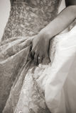 Wedding Dress. Close up of Midsection of Lace Wedding Dress Stock Photo