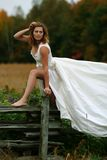 Wedding dress. Female wearing wedding dress, natural setting Royalty Free Stock Photos