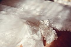 Wedding dress and accessories Stock Photos