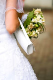 Wedding dress and accessories on a bride Stock Images
