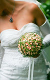 Wedding dress and accessories on a bride Royalty Free Stock Photos