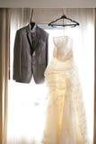Wedding dress. Against a window Stock Photos