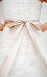 Wedding dress detail. Wedding dress back detail close-up Stock Images