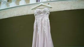 Wedding dress on a balcony stock video footage