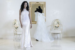 Wedding dress with beauty girl Royalty Free Stock Photos