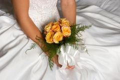 Wedding Dress Bouquet Stock Images