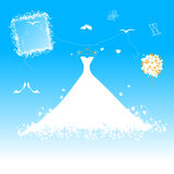 Wedding dress for bride. Vector illustration Stock Photos