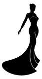Wedding Dress Bride Silhouette. A silhouette bride in her bridal wedding dress Stock Images