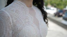 A wedding dress close up stock video