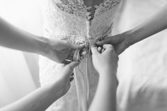 Wedding dress corset stock photography