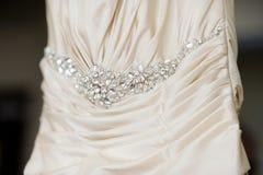 Wedding dress decoration close up Royalty Free Stock Photo