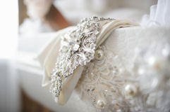Wedding dress decoration close up Stock Photos