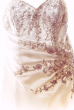 Wedding dress detail. Detailed close up of a wedding dress with intricate patterns Stock Photos