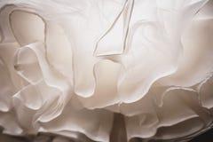 Wedding dress detail close up. White wedding dress detail close up bottom view stock photos