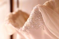 Wedding dress detail. White booken Royalty Free Stock Images