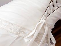 Wedding dress detail. White wedding dress detail with lace Stock Image