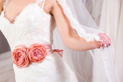 Wedding dress details Royalty Free Stock Photos