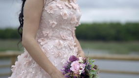 Wedding Dress with flowers - Slow Motion stock footage