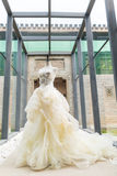 Wedding dress. On display, perpared for the bride royalty free stock images