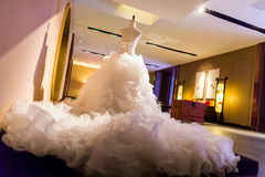 Wedding dress. On display, perpared for the bride stock photo