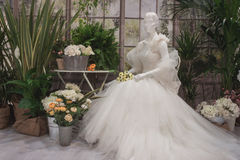 Wedding dress on display at Si' Sposaitalia in Milan, Italy Royalty Free Stock Image