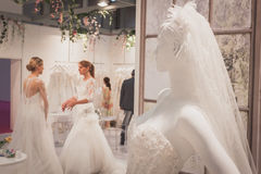 Wedding dress on display at Si' Sposaitalia in Milan, Italy Royalty Free Stock Images