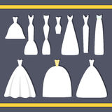 Wedding dress. Elegant wedding dresses for pretty bride. Isolated vector illustration in flat style. Classical and modern silhouette of bridal gown. Variety of Royalty Free Stock Image