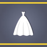 Wedding dress. Elegant wedding dresses for pretty bride. Isolated vector illustration in flat style. Classical and modern silhouette of bridal gown Stock Photography