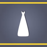Wedding dress. Elegant wedding dresses for pretty bride. Isolated vector illustration in flat style. Classical and modern silhouette of bridal gown Royalty Free Stock Photos