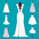 Wedding bride dress elegance style celebration bridal shower clothing accessories vector illustration. Wedding dress elegant style celebration clothing vector Stock Images