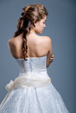 Wedding dress on fashion model stock image