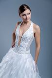 Wedding dress on fashion model royalty free stock image