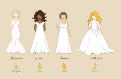 Wedding dress and female types of figures. Vector illustration Royalty Free Stock Image