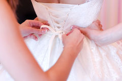 A wedding-dress of fiancee Stock Images